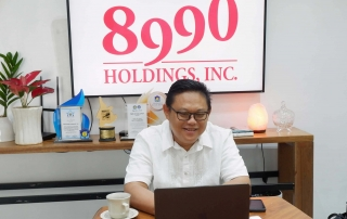 """Atty. Anthony Vincent """"Bong"""" Sotto, 8990 Holdings Inc. CEO, represents the company during the virtual awarding by the Home Development Mutual Fund or commonly known as Pag-IBIG Fund."""